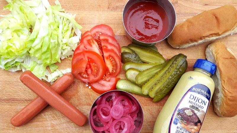 Foto von Hot Dog Zutaten