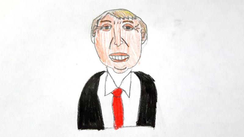 Zeichnung von Donald Trump